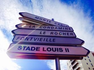 Panneau de direction à Monaco