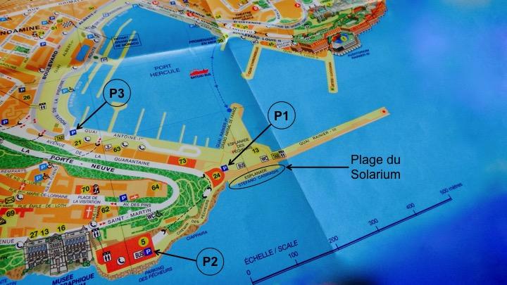 Plan d'accès Plage du Solarium de la nouvelle digue, à Monaco