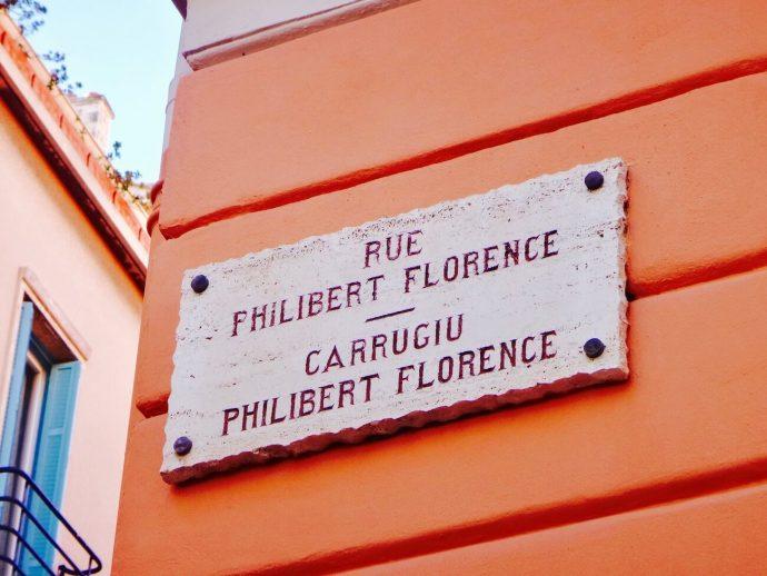 Plaque de Nom de Rue en Français Monégasque Monaco